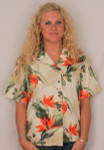 Aloha Blouse - Bird of Paradise on Cream – 346-3470C