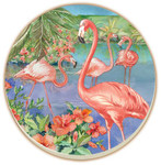 Pink Flamingo Absorbent Stone Coasters - Set of 4 - 14105
