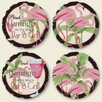 Pink Flamingo Bar & Grill Stone Round Coasters Set of 4 - 04-144