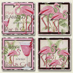 4 Pink Flamingo Scenes Tumbled Stone Coasters 4 Pack 05-144