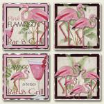 4 Pink Flamingo Scenes Tumbled Stone Coasters 4 Pack 05-144