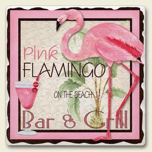 Pink Flamingo Bar & Grill Tumbled Tile Trivet - TTT-144