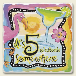 "Pink Flamingo ""5 O'clock Somewhere"" Tumbled Tile Trivet - TTT-819"