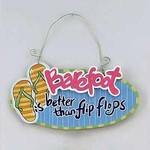Flip Flops Barefoot Wood Sign 11757