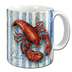 Ocean Lobster Blue Stripes Coffee 11 oz Mug - 60013