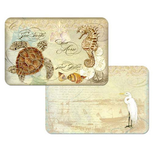 "Sea Turtle Plastic Reversible Placemat ""Sea Turtle Sea Horse"" Set of 4 - 45806"