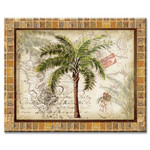"Palm Tree Glass Cutting Board 12"" x 15"" ""Tropical Palm"" - 22886"