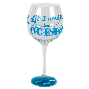 Ocean Hand Painted Wine Glass 18oz 26025C