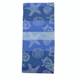 Sea Shells Jacquard Dishtowel Blue 26893B
