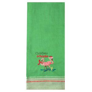 Embroidered Christmas Flamingo Paradise Dishtowel Green 27432G