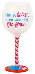 Flip Flop Better Hand Painted Wine Glass 18oz 60340B