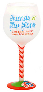 Flip Flop Friends Hand Painted Wine Glass 18oz 60340F