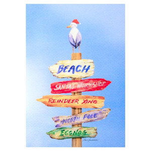 Beach Sign Christmas Cards 10 Box C73476