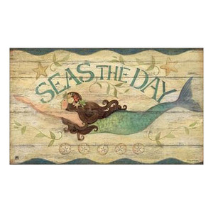 "Mermaid ""Seas the Day"" Welcome Floor Mat - 18"" x 30"" - MatMates - 11141D"