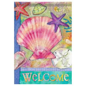 """Tropical Sea Shells Welcome - Garden Flag - 12"""" x 18"""" - 45609"""