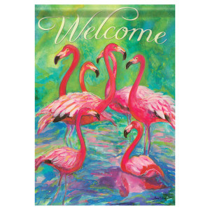"Flamingos Welcome - House Standard Flag - 28"" x 40"" - 47344"
