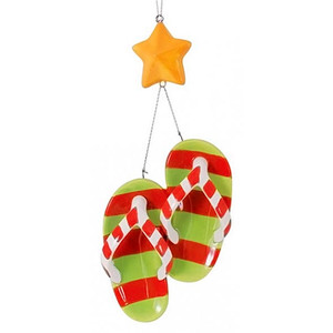 Merry Flip Flops Ceramic Christmas Ornament