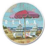 "Beach ""Relax"" Absorbent Stone Coaster for Car Cup Holder - 03-473"