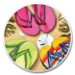 Beach Flip Flops - Stone Car Coaster Cupholder 03-045