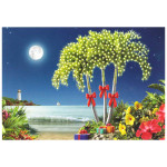 Beach Palm Tree Lights Christmas Cards 10 Box C73700