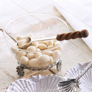 Glass Dip Condiment Bowl with Shell Base and Spoon 4851016