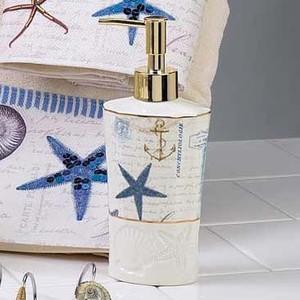 """Antigua"" Shell Ceramic LOTION DISPENSER - 13571D"