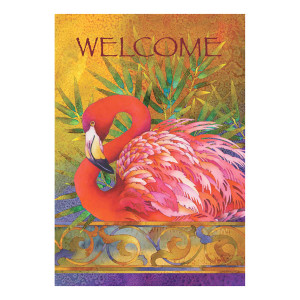 Welcome Pink Flamingo GARDEN Flag 119458