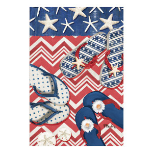 Patriotic Flipflops Starfish Stripes Garden Flag - 119864