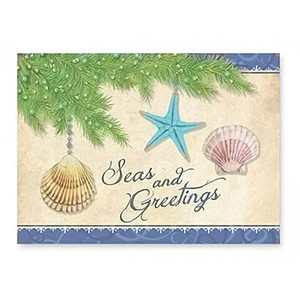 Seas and Greetings Beach Christmas Cards 16 per Box 27-085