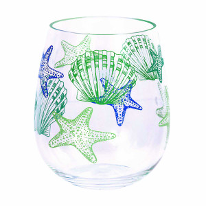 Starfish Shell Design Acrylic Stemless Wine Glass - 25247