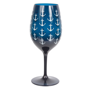 Shatterproof Navy Anchor Wine Glass Acrylic 20oz - 20466