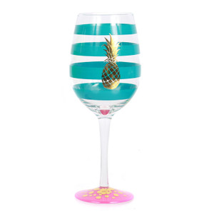 Gold Pineapple Stripe Glass Wine Glass Blue 18oz - 60464B