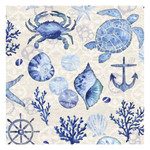 "Blue Sea Shell Turtle Coral Paper Luncheon Napkins ""By the Sea"" - 4NL5426"