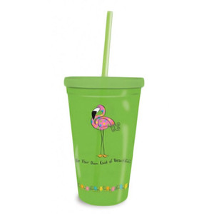 Flamingo Insulated Plastic Tumbler with Lid & Straw 726-07