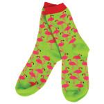 Socks Pink Flamingo on Lime Green - 10315
