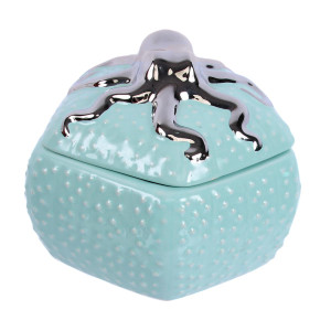 "Aqua 5"" Jar with Silver Metallic Octopus Lid - 25314"