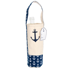 Nautical Anchor Embroidered Cotton Canvas Wine Tote Bag 20464