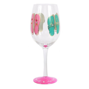Dazzling Handpainted Flip Flop Pink Wine Glass 18oz - 60607P