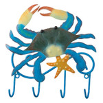 "Crab Metal Wall Decor Hooks -7"" Wide - 05422"