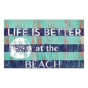 """Life is Better Sand Dollar Welcome Floor Mat 18"""" x 30"""" MatMates 11357D"""