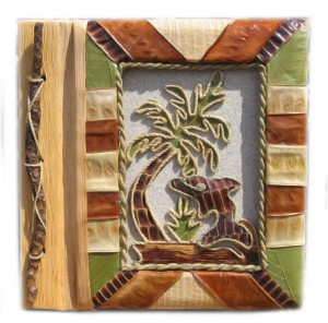 "Dolphin Photo Album 7"" x 7"" Handcrafted Tropical Natural Leaf 6-2-550"