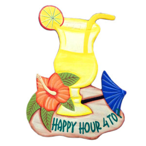 Happy Hour Hand Painted Wood Sign 1846-2-850