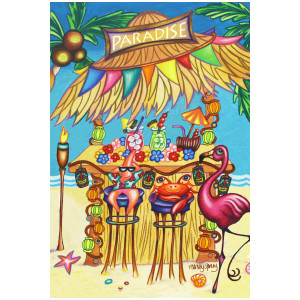 Flamingo Tiki Shack Beach Party GARDEN Flag - 1110202