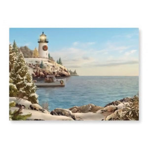 "Christmas Cards ""Holiday LightHouse"" Box of 16 - 25-407"