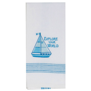 Explore Your World Sailing Embroidered Tea Towel - 3F0733