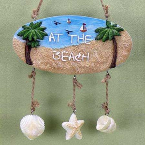 At the Beach Resin Sign with Shells 22641