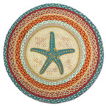 "Starfish 27"" Hand Printed Round Braided Floor Rug RP-397"