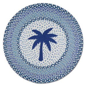 "Blue Palm Tree 27"" Hand Printed Round Braided Floor Rug RP-525"