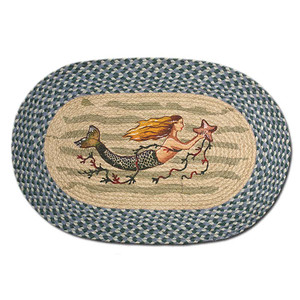 Mermaid 20x30 Hand Printed Oval Braided Floor Rug OP-245
