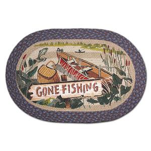Gone Fishing 20x30 Hand Printed Oval Braided Floor Rug OP-355